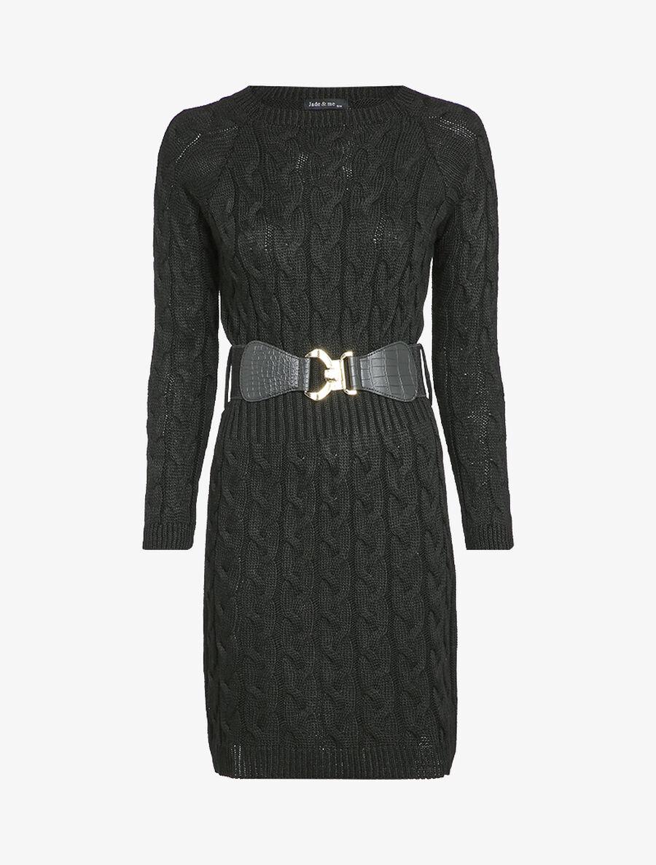 Robe pull en maille torsadée et taille côtelée - noir image number null
