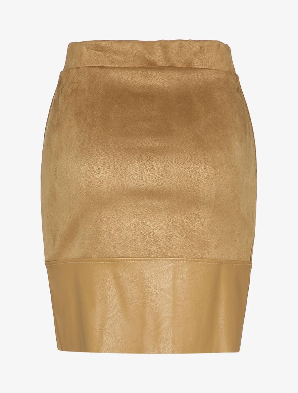 Mini jupe en suédine coupe trapèze - camel image number null