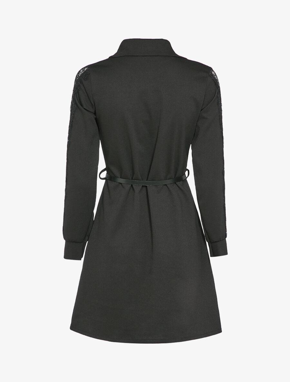 Robe chemise à manches détail dentelle - noir image number null