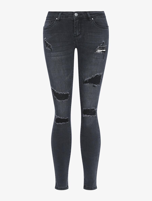 Jean skinny à empiècement - noir image number null