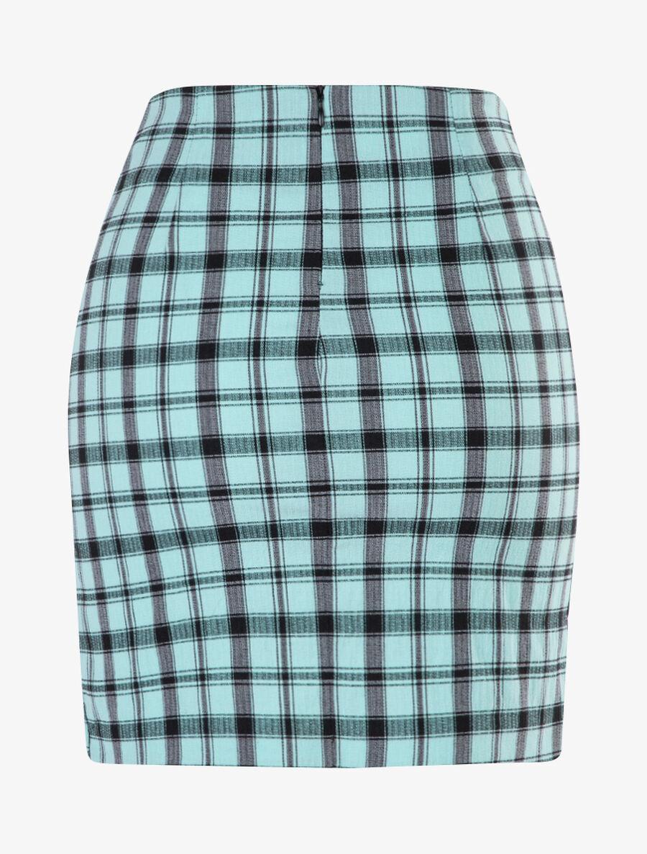 Mini jupe à imprimé tartan - turquoise image number null