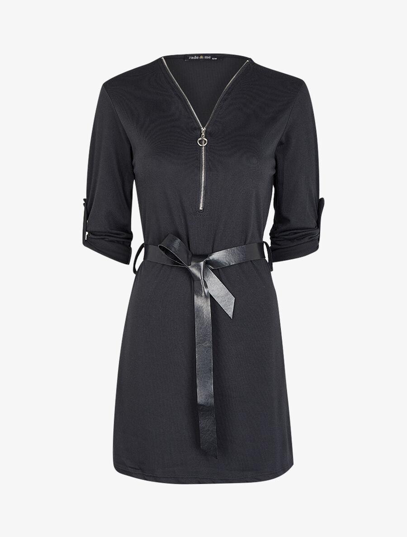 Robe à col V zippé et manches longues retroussables - noir image number null
