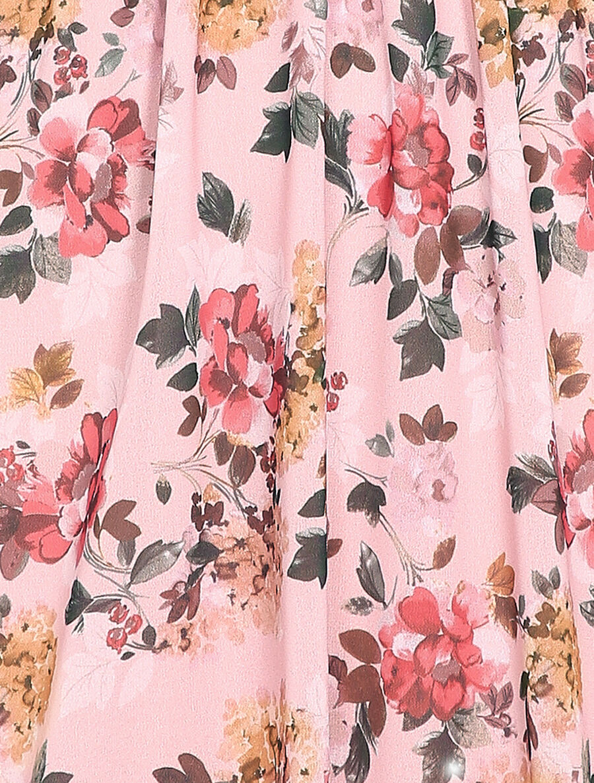 Robe patineuse mi-longue à imprimé fleuri - rose image number null