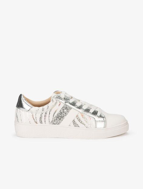 Sneakers à zébrures brillantes et gomme