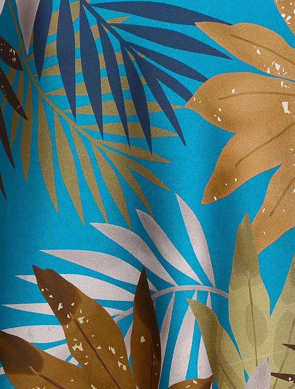 Caraco satiné à imprimé tropical - bleu image number null