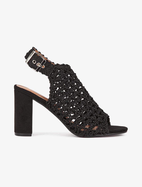 Peep-toes en tissu tressé - noir image number null