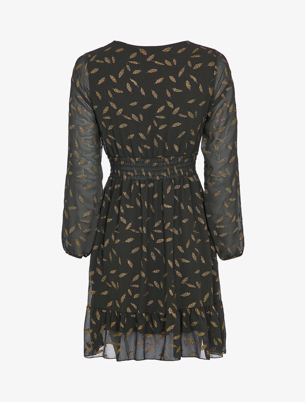 Robe imprimée plumes irisées et col cache-coeur - noir image number null