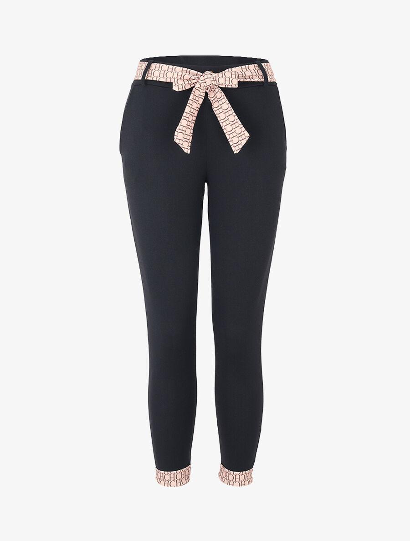 Pantalon 7/8 à bords imprimés - noir image number null