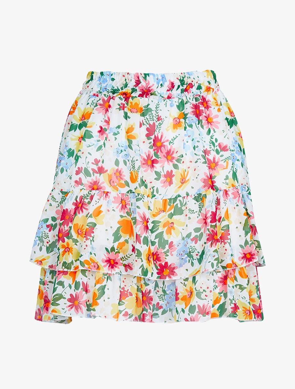 Mini jupe à volants superposés imprimé fleurs - blanc image number null