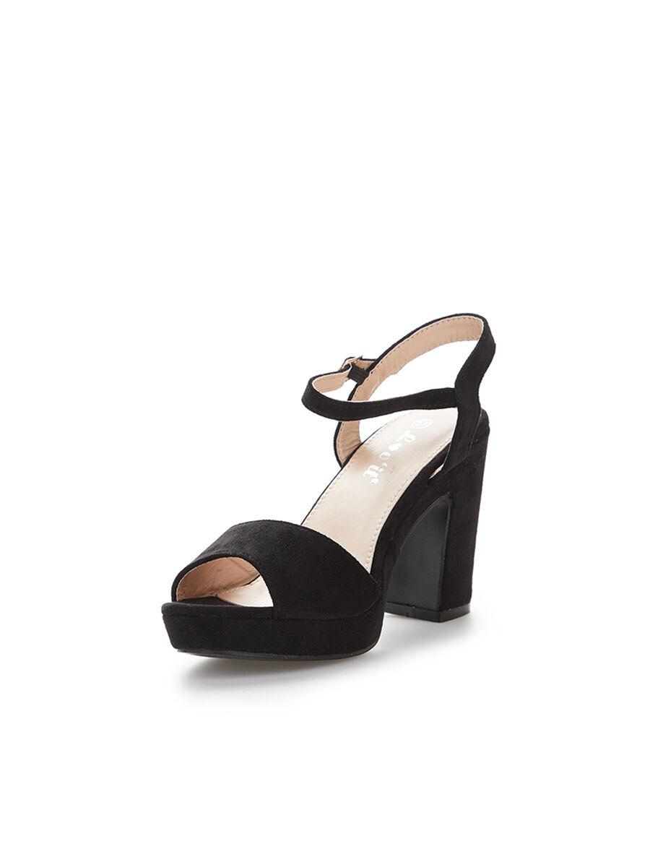 Sandales en suédine à plateforme - noir image number null