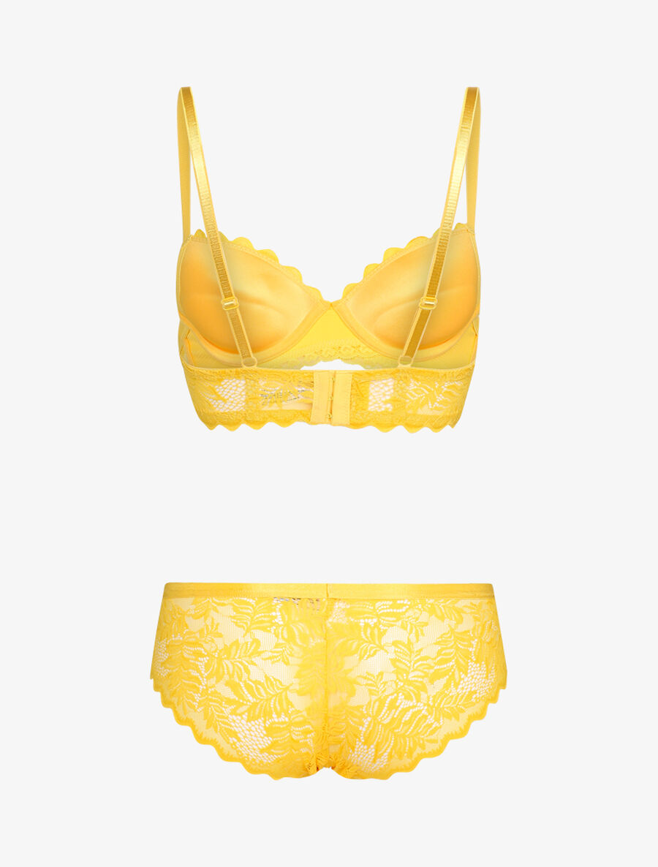 Ensemble en dentelle style feuillages - jaune image number null