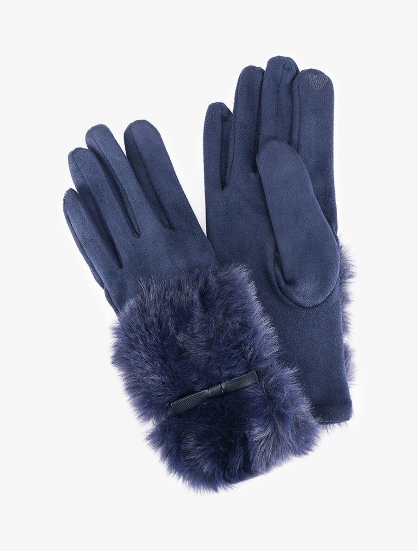 Gants suédés en fourrure et simili - bleu indigo image number null