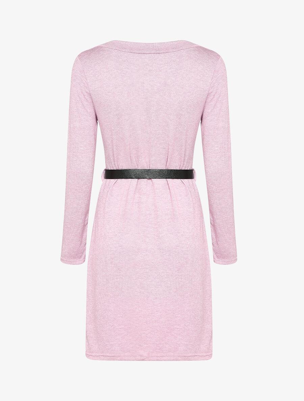 Robe pull à col V en dentelle - rose image number null