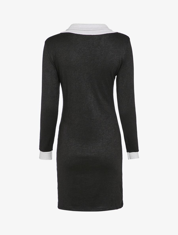Robe pull à col asymétrique - noir image number null