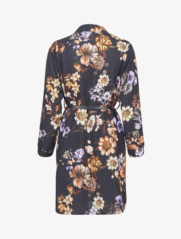 Robe chemise imprimé fleuri - noir image number null