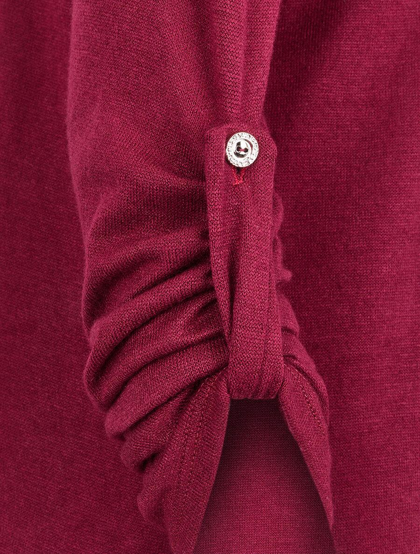 Pull à col zippé et à épaules dentelle - bordeaux image number null