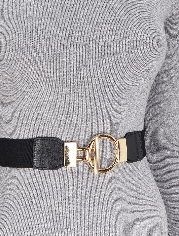 Robe pull unie à ceinture stylisée - gris chiné image number null