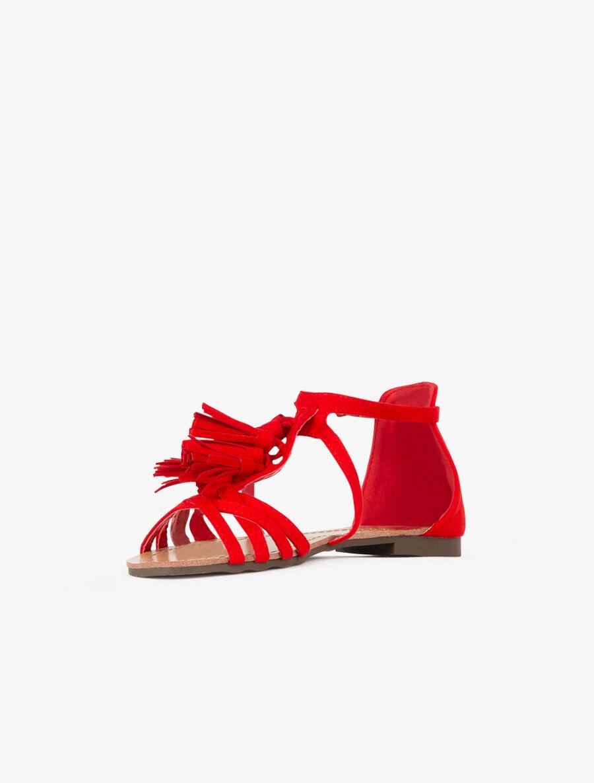 Nu-pieds suédés à pampilles - rouge image number null