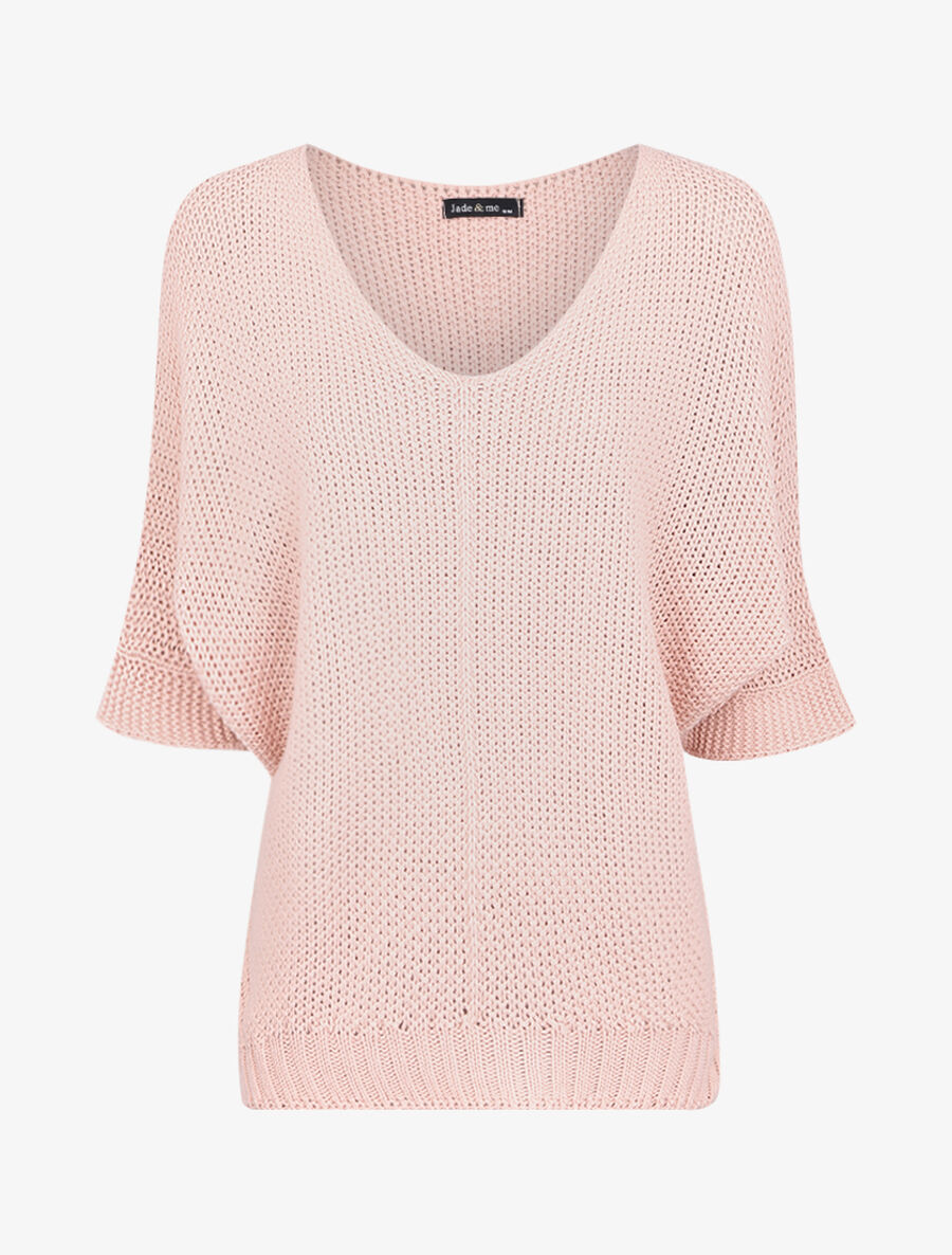 Pull oversize à manches 3/4 et col U image number null