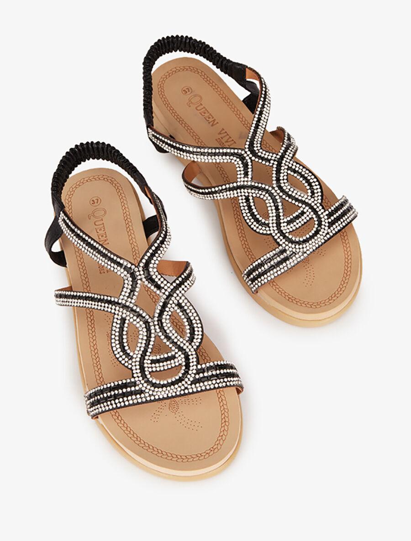 Nu-pieds style oriental en strass - noir image number null