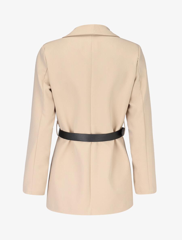 Veste à ceinture contrastante - beige image number null