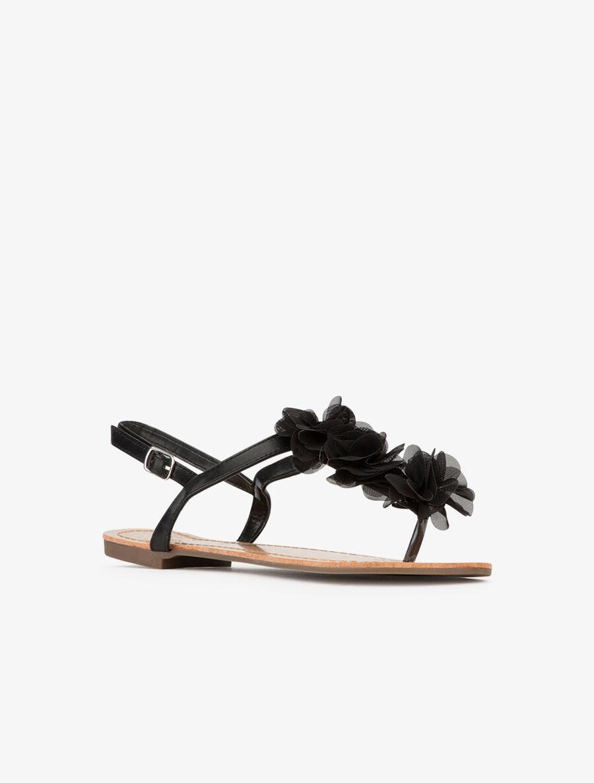 Nu-pieds en simili fleuri - noir image number null