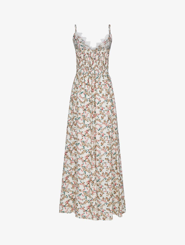 Robe fleurie à détails crochet - beige image number null