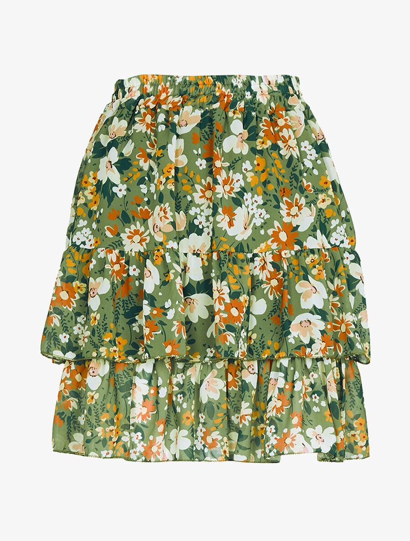 Mini jupe à volants superposés imprimé fleurs - kaki image number null