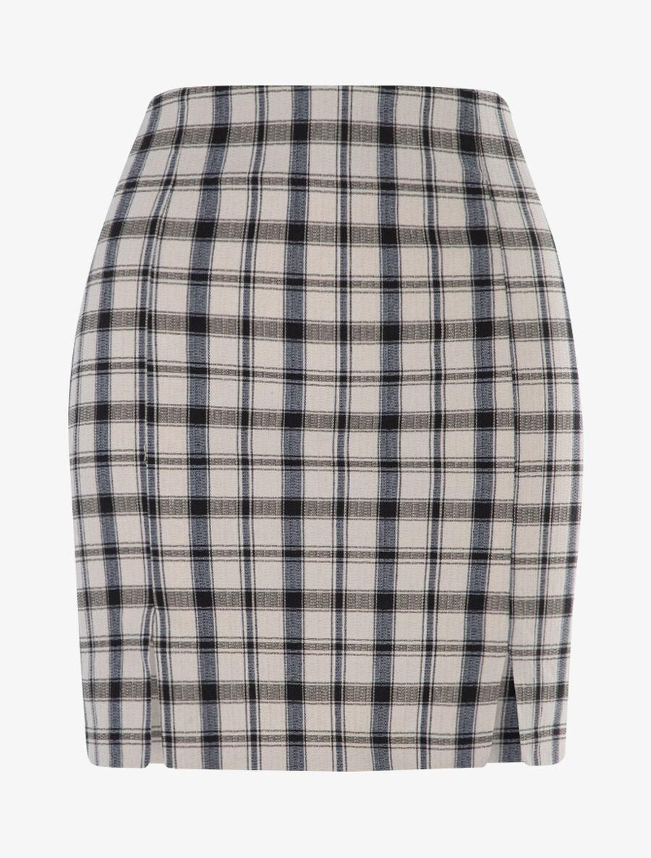 Mini jupe à imprimé tartan - beige image number null