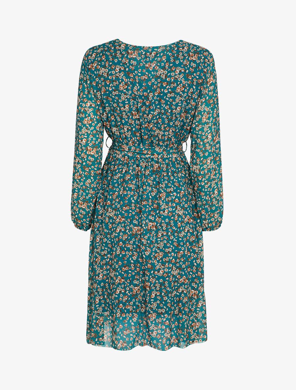 Robe patineuse à imprimé petites fleurs des champs - bleu canard image number null