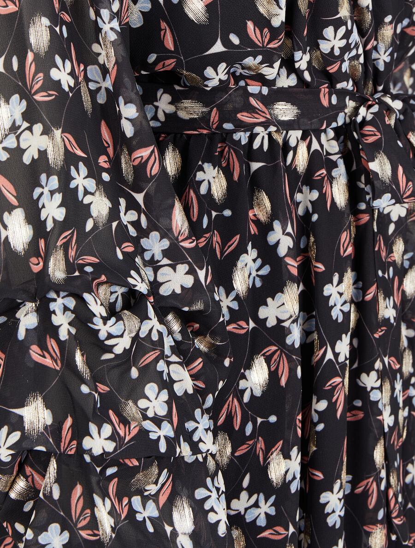 Robe patineuse imprimé fleurs de cerisier lamé à manches plissées - noir image number null