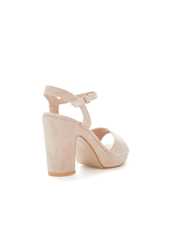 Sandales en suédine à plateforme - beige image number null