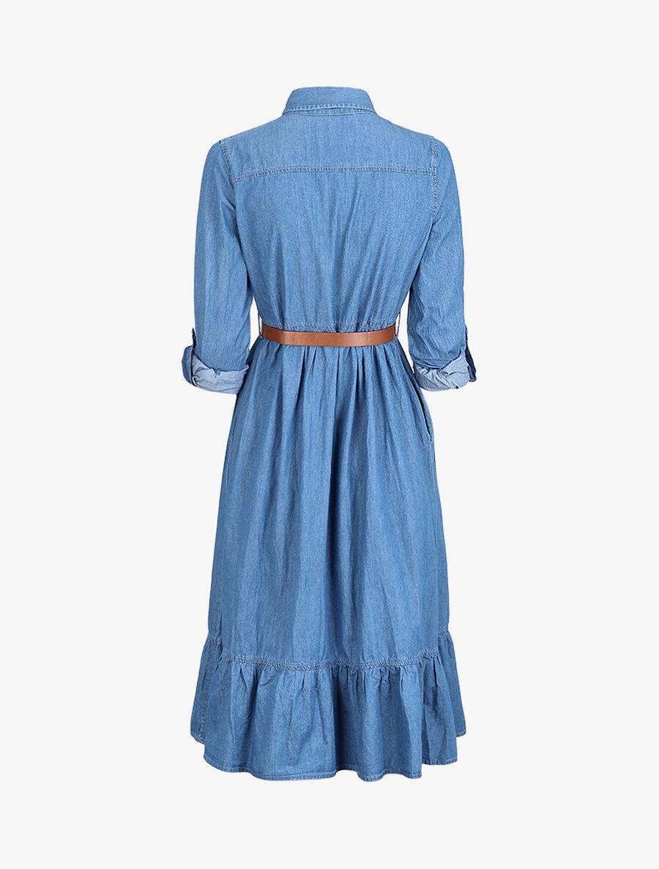 Robe longue volantée en jean - bleu denim image number null
