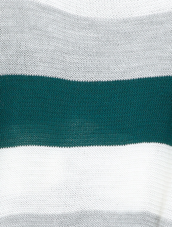 Pull loose à imprimé rayé et manches dolman - bleu canard image number null