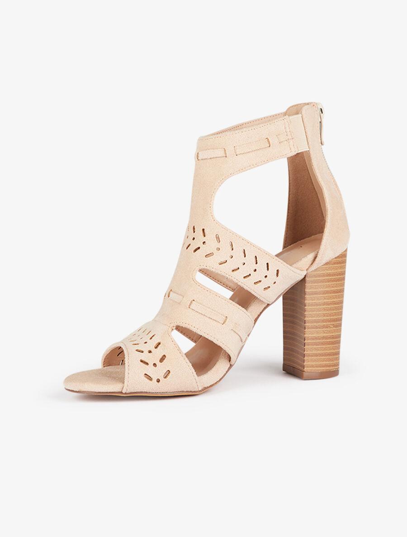 Sandales style bottines à découpes - beige image number null