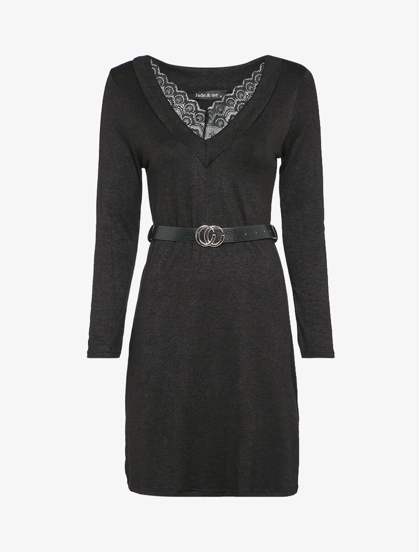 Robe pull à col V en dentelle - noir image number null