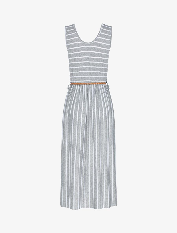 Robe longue à imprimé style marinière - gris clair image number null