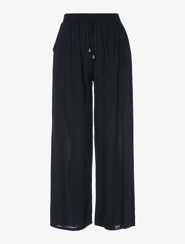 Pantalon fluide uni - noir image number null