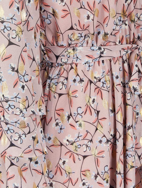 Robe patineuse imprimé fleurs de cerisier lamé à manches plissées - rose pâle image number null