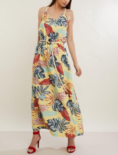 Robe longue à imprimé tropical
