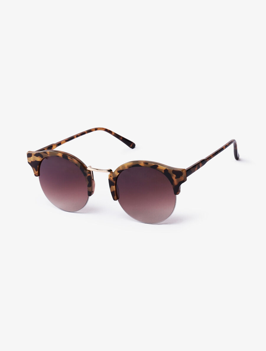 Lunettes clubmaster rondes - beige image number null