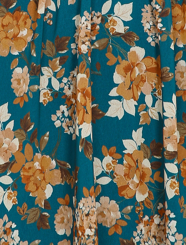 Robe patineuse mi-longue à imprimé fleuri - bleu image number null