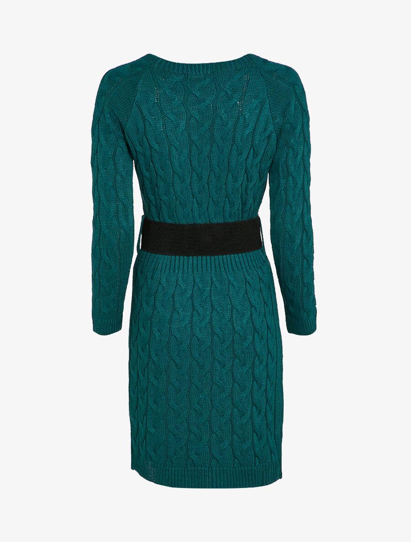 Robe pull en maille torsadée et taille côtelée - bleu canard image number null