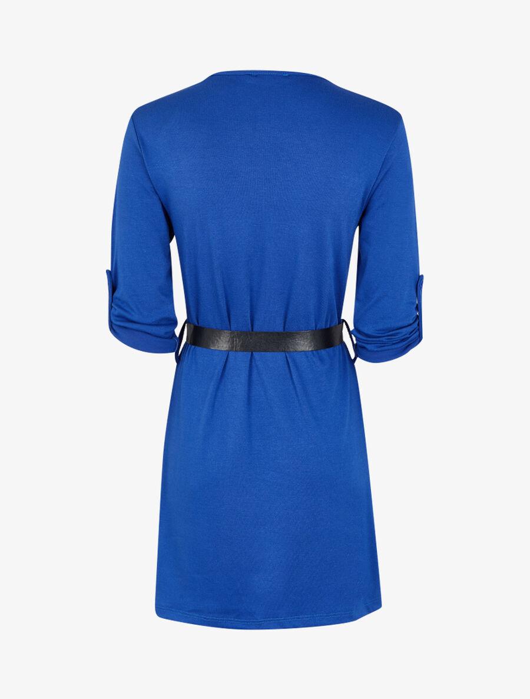 Robe à col V zippé et manches longues retroussables - bleu électrique image number null