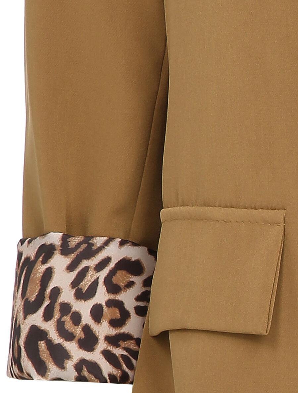 Blazer oversizer à revers imprimé léopard - camel image number null