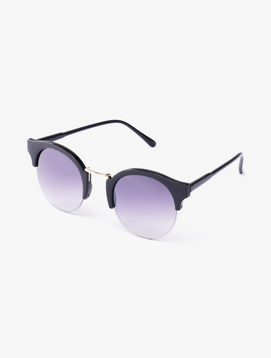 Lunettes clubmaster rondes - noir image number null