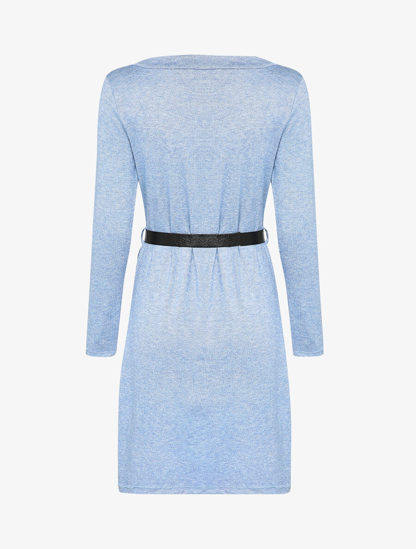 Robe pull à col V en dentelle - bleu image number null