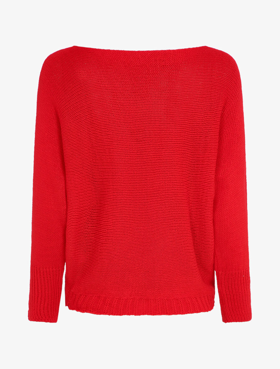 Pull à col bénitier et manches dolman - rouge image number null