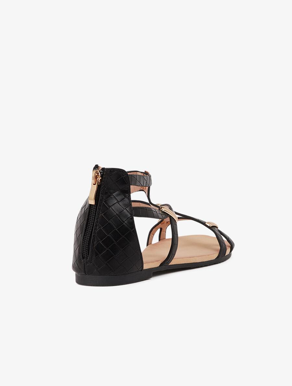 Nu-pieds texturés et à plaques dorées - noir image number null