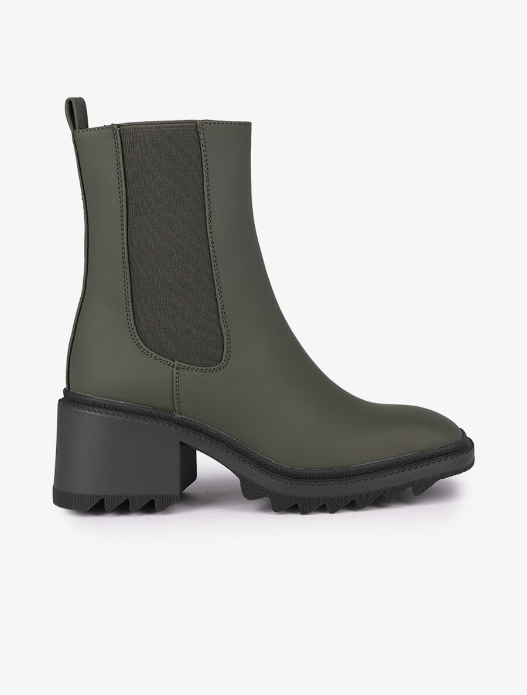 Boots montantes à bouts carrés - kaki image number null